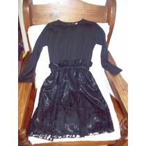Aurojul-vestido Fiesta -pollera Encaje-m/larga-t.10