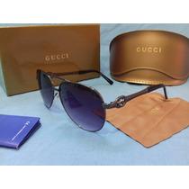 Óculos De Sol Gucci Aviator C/ Brinde- Novo