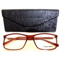 Ea6171 Unissex Armação Óculos De Grau Marrom + Case Flanela