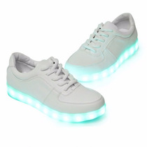 Zapatillas Luces Led 7 Color Blanco Usb Niños Adultos