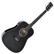 Violão Elétrico Vogga Vck380 Bmf Folk - Black Maple Flamed