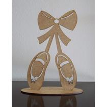Kit Com 5 Sapatilhas De Bailarina 20cm Em Mdf Cru