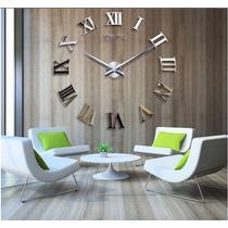 Relógio De Parede Decoração Sala Números Romanos 3d Acrílico