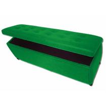 Puff Baú Retangular Sala Quarto Cama Casal Verde Bandeira