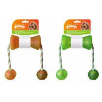 Brinquedo Mordedor Borracha E Bolas Com Corda Pet Shop Cores