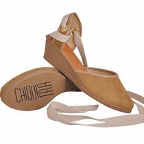 Sapato Sandalia Anabela Feminina Espadrille Salto Medio