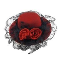 Señoras Doble Rojo Flores Sombrero En Forma De Pinza De Pelo
