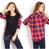 Blusa Cuadros Casual Moda Japonesa Envio Gratis Dhl