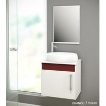 Gabinete/armário P/ Banheiro Susp. Soft Com Cuba Luzza 45cm