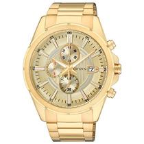 Relógio Citzen Masculino Cronógrafo Dourado Tam. Médio
