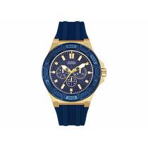 Reloj Guess Mod. W0674g2 Dorado Con Azul Indigo Hombre
