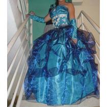 Vestido De 15 Años Color Turquesa Azul Claro Y Azul Rey