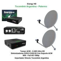 Tv Satelital Fta Tocomsat Energy Hd Acmh265 + Lnb + 2 Antena
