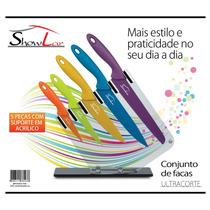 Kit Conjunto De Facas Coloridas Com Cepo 5 Peças