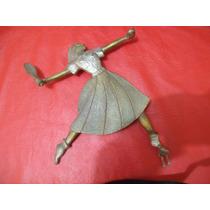 Antigua Figura De Bronce Macizo - De Jugadora De Tenis