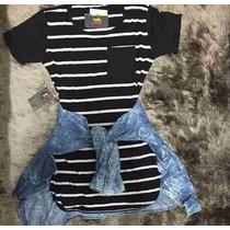 Vestido Listrado Feminino Camiseta Manga Curta Cirre