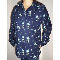 Blusa Azul Floreada Talla Extra Grande Envio Gratis