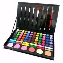 Kit Maquiagem Paleta Profissional 72 Sombras + 5 Pinceis