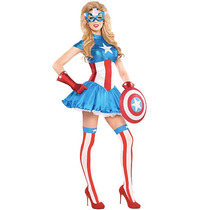 Disfraz Capitan America Traje Vestido Sexy Mujer Halloween