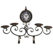 Relógio De Mesa Prata C/ Castiçais Em Ferro Oldway - 67x45
