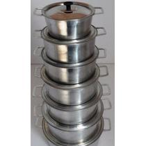 Jogo De Panelas Em Aluminio Fundido Super Polido 7 Peças