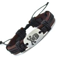 Pulseira Top Bracelete Masculina Feminin Couro Caveira Skull
