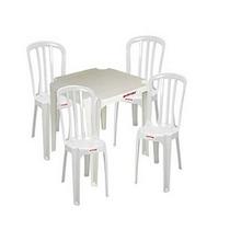 Jogo De Mesa E Cadeiras De Plástico Branco/gelo Goiania