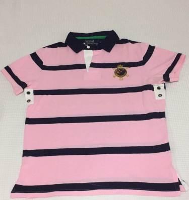Camiseta Polo Ralph Lauren Rosa Listrada - R  170 0ed68adc0d69f