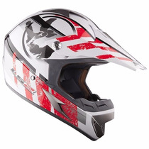 Casco Ls2 Mx 433 Cross Stripe Rojo Motocross Enduro Atv Fas