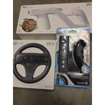 Wii Remote E Nunchuck,wii Wheels E Wii Zapper + 1jogo