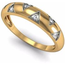 Anel Aliança Compromisso Em Ouro 18 K E Diamantes
