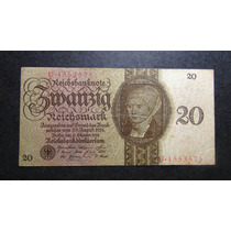 Alemanha 20 Reichsmark - Cédula Raríssima - Pague Sem Juros