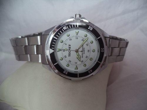 f93b51df8c5 Relógio Tecnet Branco Masculino Pulseira Aço Inox Ultima Pç - R  90 ...