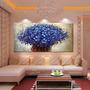 Quadro Pintura Em Tela Flores Modernas Azul
