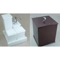 Kit Potes Para Banheiro Em Acrílico Com Strass + Lixeira