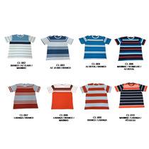 Kit 5 Camiseta Pp Ao Gg Gola Careca Malha Listrada Masculino