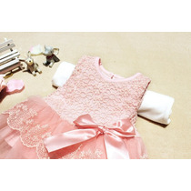 Conjunto Bebé/niña Vestido Tul Y Encaje Rosa Fiesta. Últimos