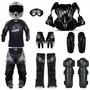 Kit Motocross Capacete + Oculos + Proteção + Botas + Roupa