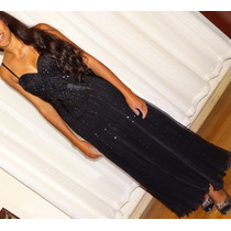 Lindo Vestido De Festa Preto Com Bordados E Estola!!!
