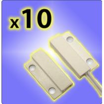 Sensor Magnetico Alarma Puerta Ventana Aberturas X 10 Unid