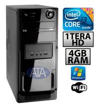 Pc Cpu Corei3 3geração+4gb+1tera Hd+dvd+wifi +1ano Garantia