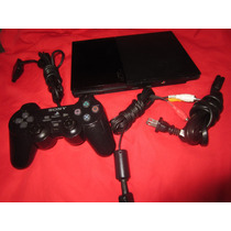 Ps2 Slim 90010 + 1 Mando Y Cables Todo Original Lee En Una