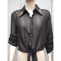 Camisa Transparente De Amarrar Na Cintura Tam M