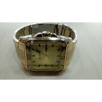 Relógio Original Atlantis Estilo Technos Dourado Quadrado