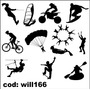 Adesivo Silhueta Kit Esportes Radicais Bike Surf Will166