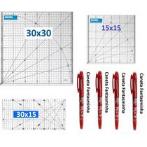 Kit Reguas Patchwork 30x30, 30x15, 15x15, 4 Canetas Fantasm
