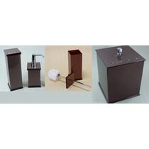 Kit Potes P/ Banheiro Em Acrílico Chocolate - Personalizado