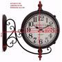 Relógio Parede Estação Herweg 6428 Duas Faces Aço Gigante