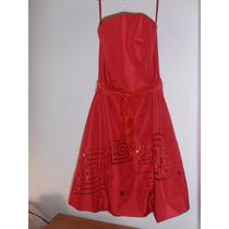 Vestido De Fiesta Talle S Chantú De Seda Rojo Con Lentejuela
