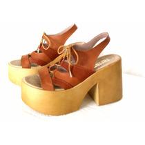 Zapato Sueco Plataforma Calzado Acordonado Cuero Suela Nuevo